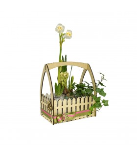 Crate with Handle Full of Flowers
