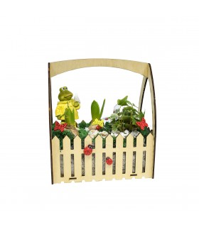 Wooden Basket with Spring Plants
