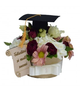 Graduation Flower Box with Hat and Message