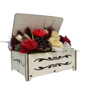 Wooden Gift Box with Dried Plants