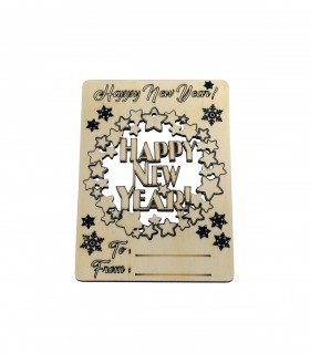 Happy New Year Wooden Holiday Card