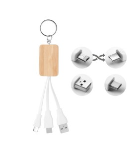 Bamboo 3 in 1 Keychain with Cable