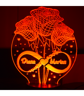3D Lamp with Roses and Name