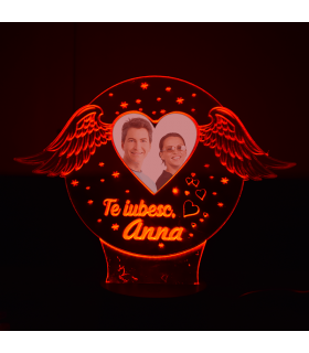 """""""I Love You"""" 3D Lamp with Name and Photo"""
