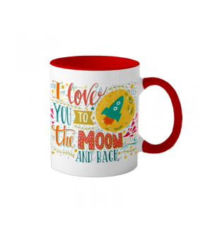 "Cana interior rosu  ""Love you to the moon and back"""
