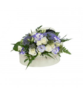 Purple and White Arrangement in Oval Box